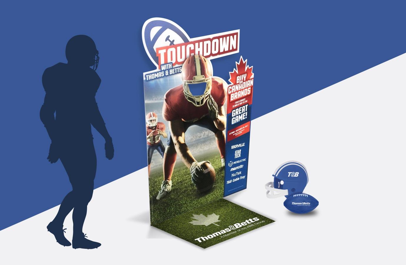 kiosque pour Thomas & Betts, promotion Touchdown, avec accessoires promotionnels
