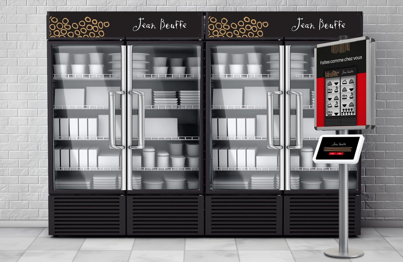 Identité, affichage service de mets préparés offerts en entreprise, par Jean Bouffe