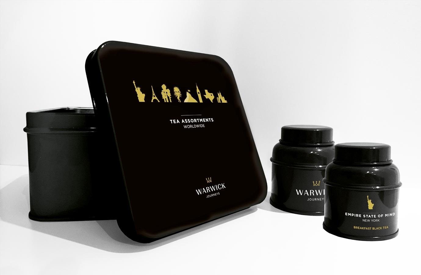 Emballage métallique pour thés des hôtels Warwick
