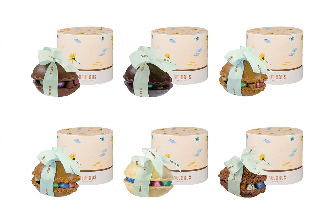 emballage cadeau rose pour gros oeufs de Pâques de Neuhaus, collection printemps