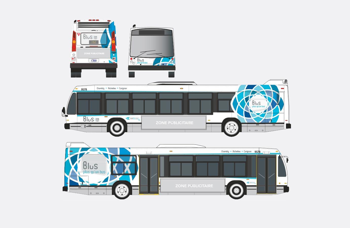 Lettrage des autobus Blus, version bleue