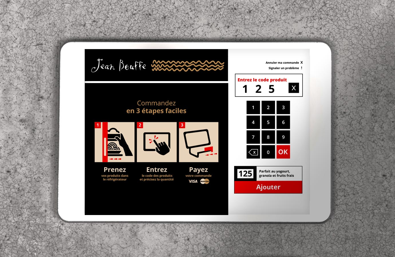 Interface de commandes de produits en entreprises, Jean Bouffe