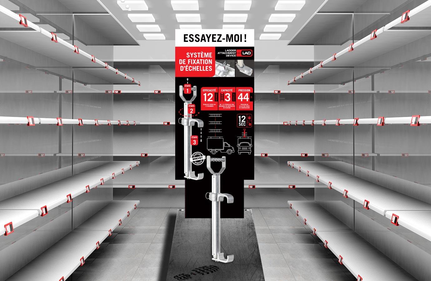 présentoir du système de fixation d'échelles LAD, pour essai en magasin