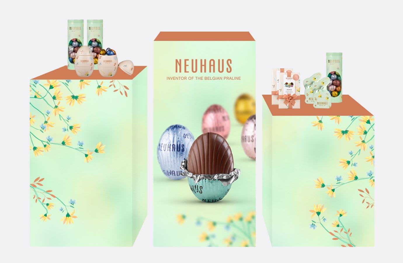 Présentoir  et vitrine promotion printemps de Neuhaus