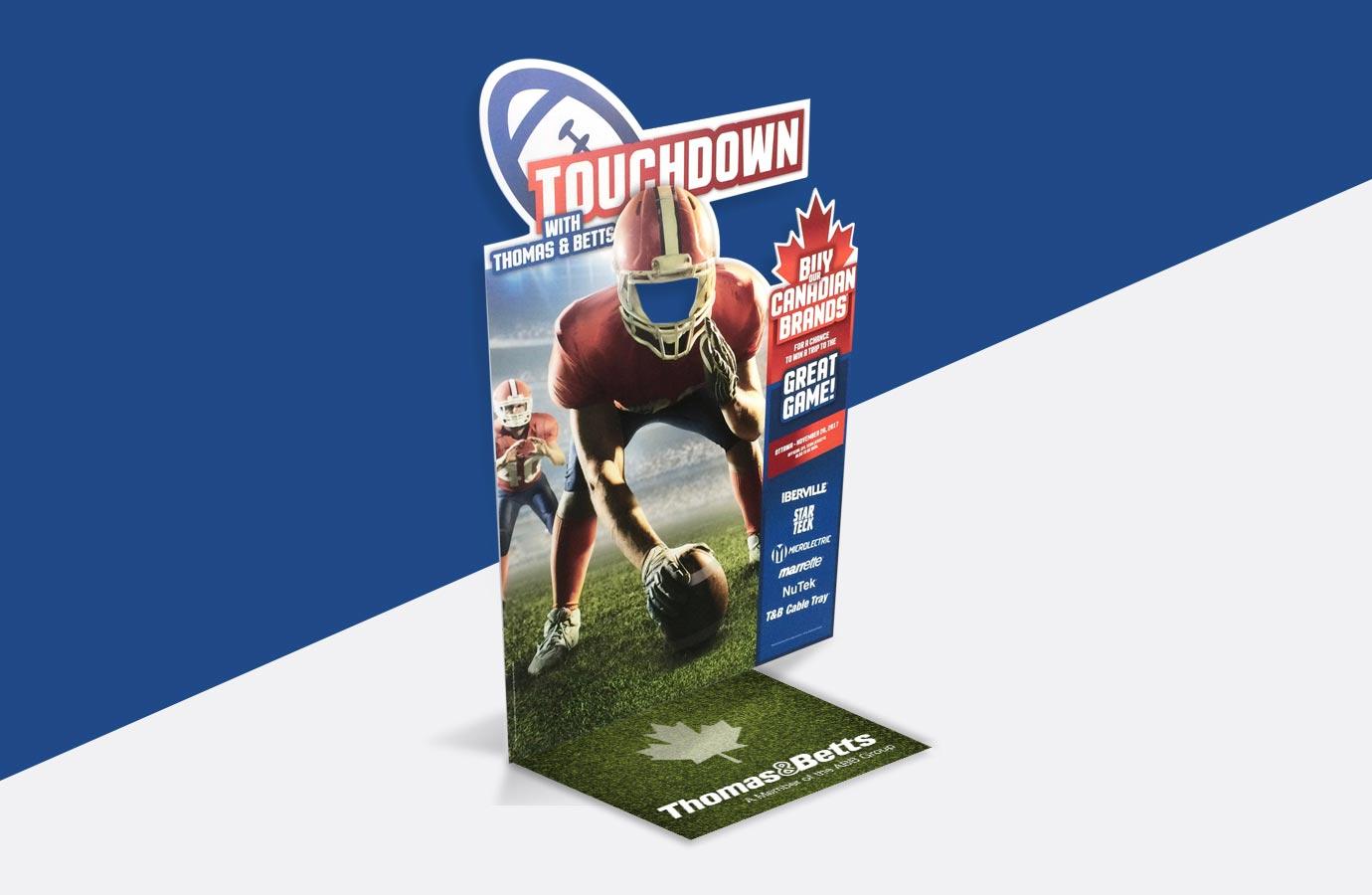 Kiosque, panneau interactif, promotion Touchdown de Thomas & Betts