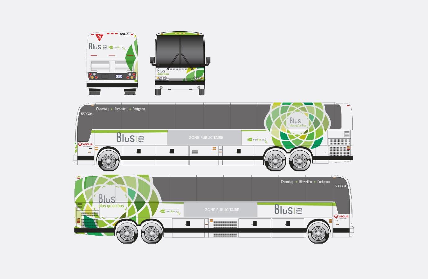 Lettrage des autobus Blus, version verte