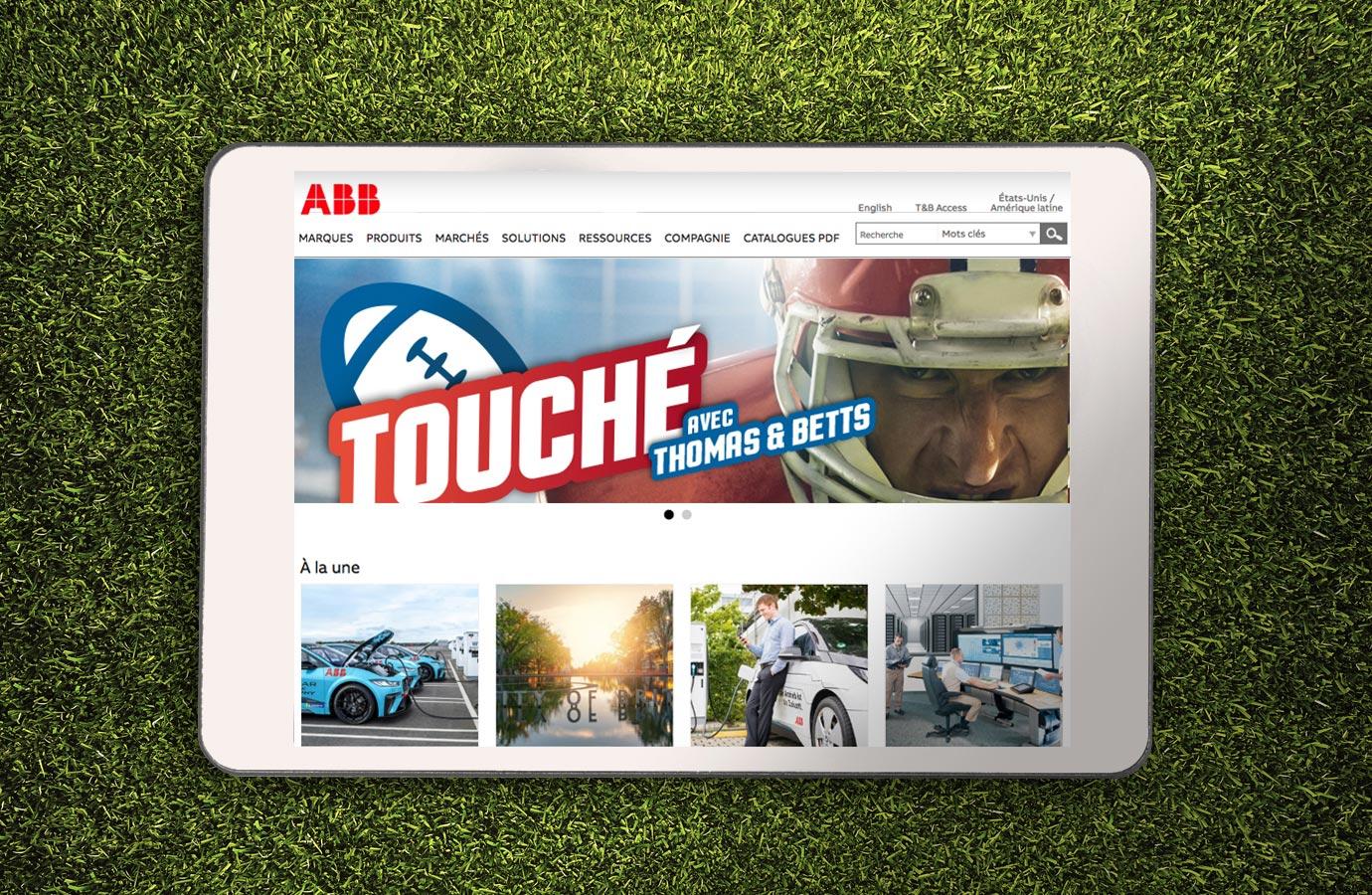 publicité web pour la promotion Touchdown de Thomas & Betts