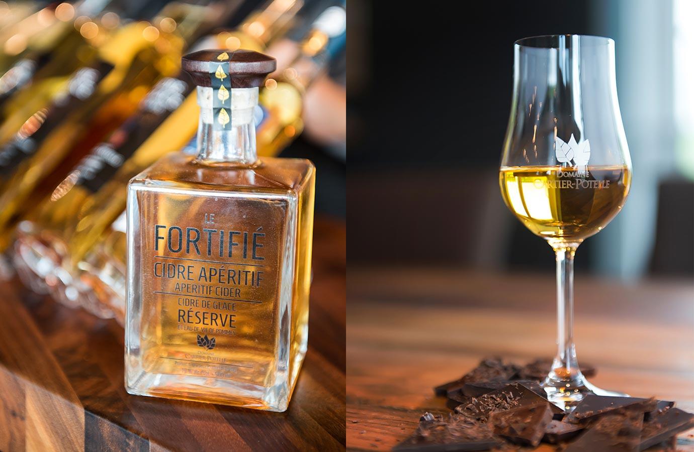 Étiquette et verre pour cidre apérifif, cidre de glace du Domaine Cartie-Potelle