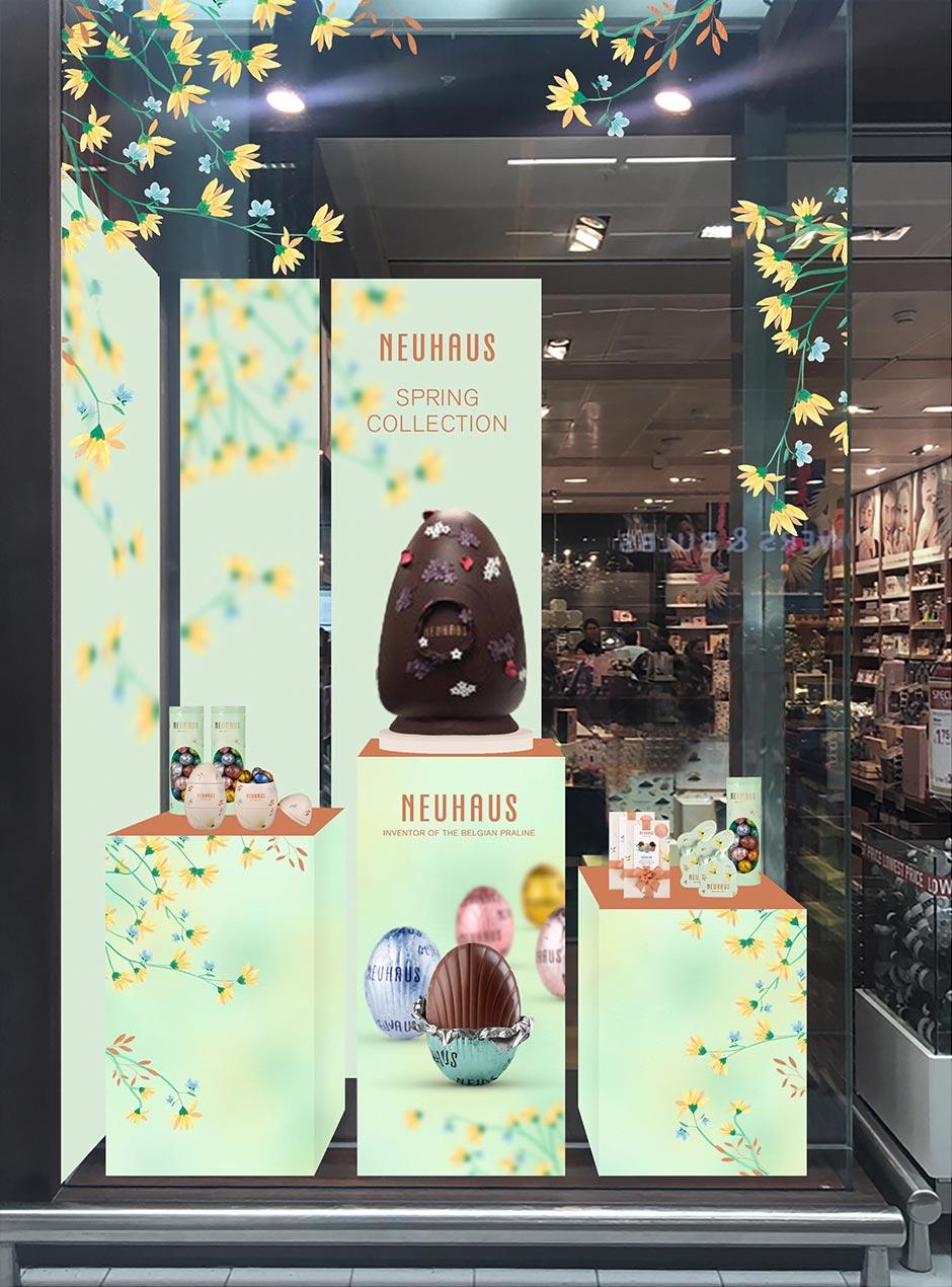 collection printemps de Neuhaus, vitrine de magasin