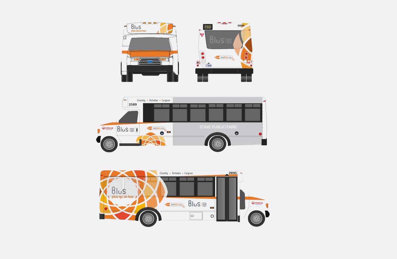 Lettrage des mini-autobus Blus, version orange