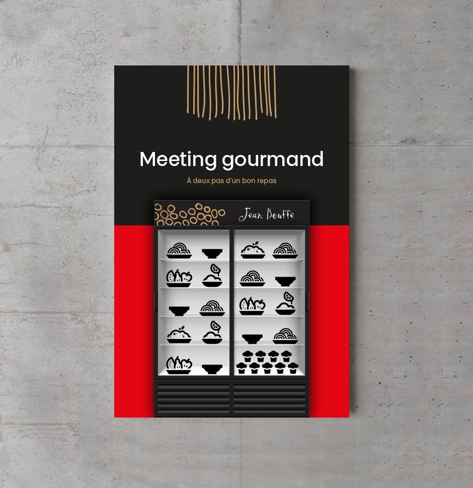 Affiche promotionnelle pour offre des mets préparés par Jean Bouffe