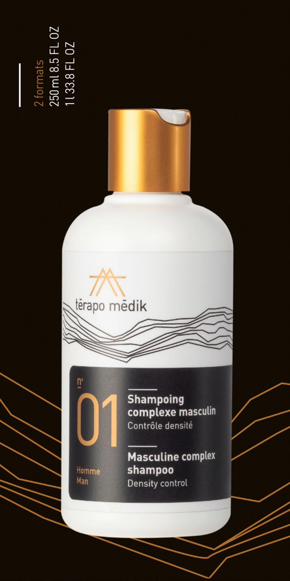 Shampoing complexe Masculin, contrôle densité de Térapo Médik Homme, Laboratoire Nature