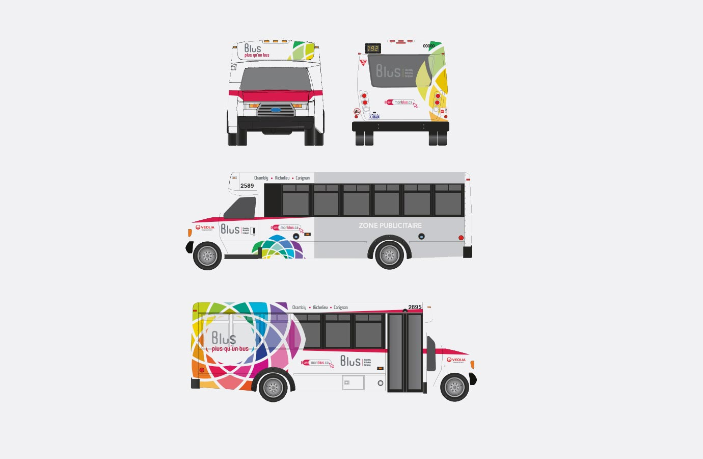 Lettrave des mini-autobus Blus, version multicolore