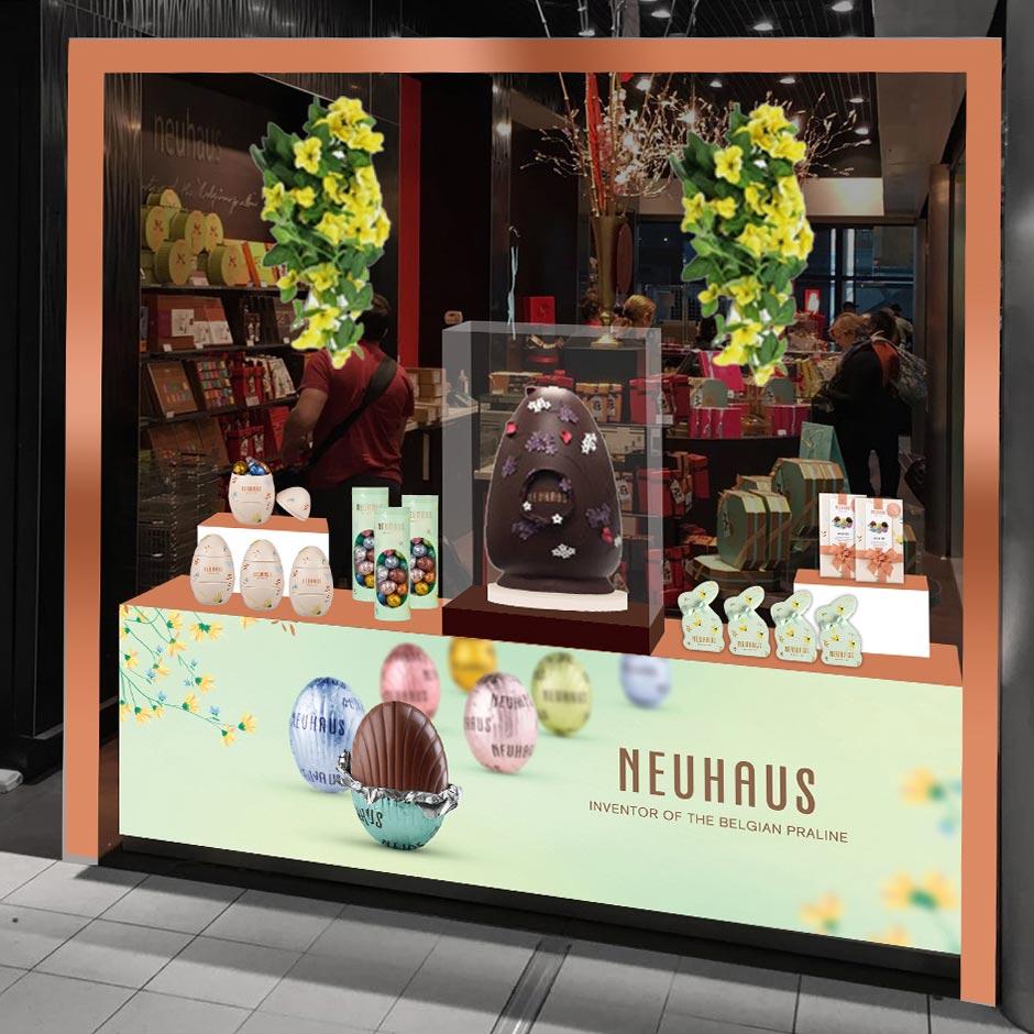 collection de Pâques pour les chocolateries Neuhaus, affiche en magasin