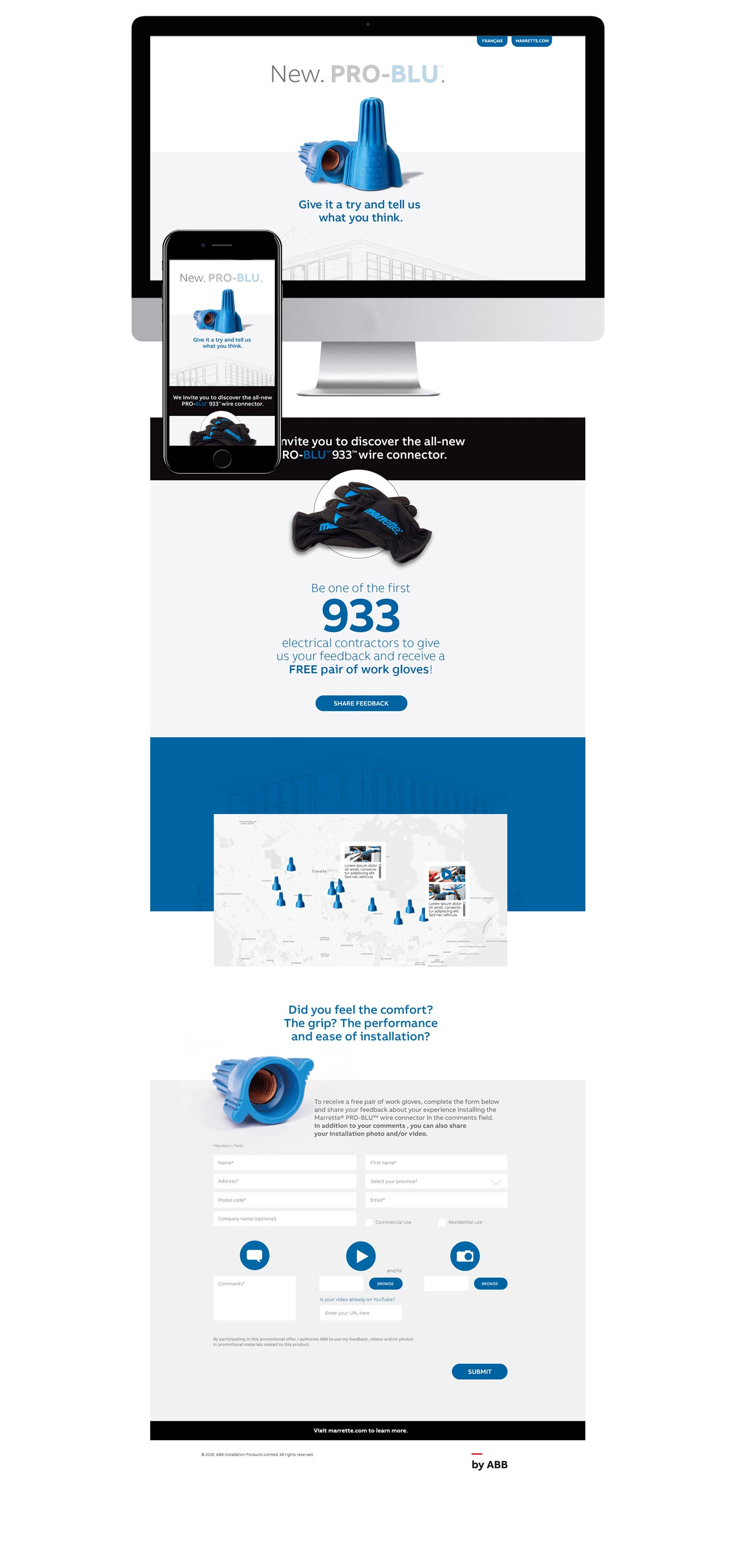 Site web pour la promotion du produit Pro-Blu de ABB