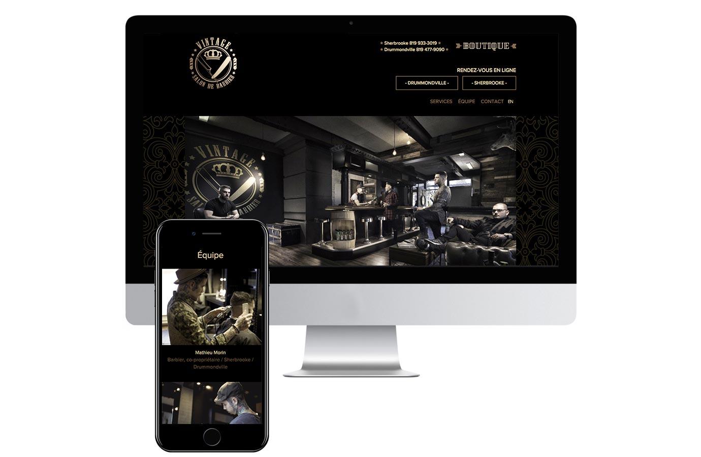 Site web pour le salon de barbier Vintage